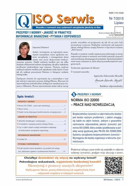 ISO Serwis. Wszystko o normach i systemach zarządzania jakością. Nr 7/2015
