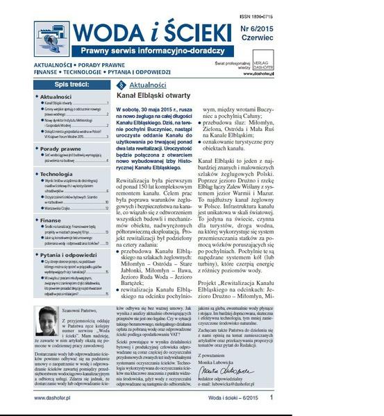 Woda i ścieki. Prawny serwis informacyjno-doradczy. Nr 6/2015