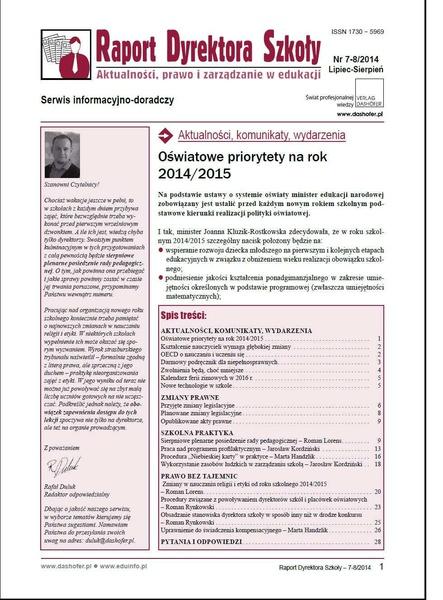 Raport Dyrektora Szkoły. Aktualności, prawo i zarządzanie w edukacji. Nr 8/2014
