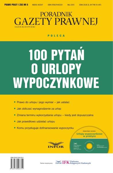 PRAWO PRACY I ZUS NR 6 - 100 PYTAŃ O URLOPY WYPOCZYNKOWE wydanie internetowe