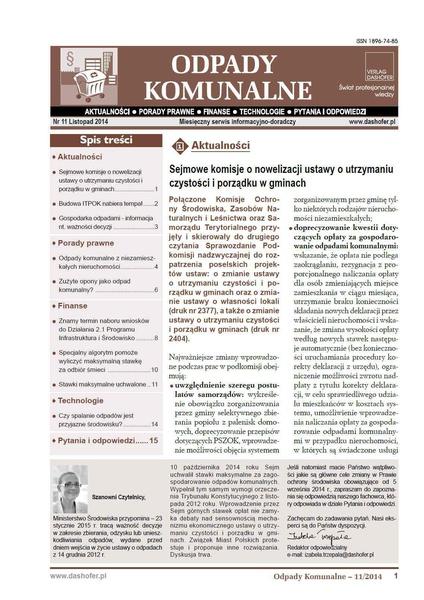 Odpady komunalne. Nr 11/2014