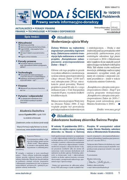 Woda i ścieki. Prawny serwis informacyjno-doradczy. Nr 10/2015