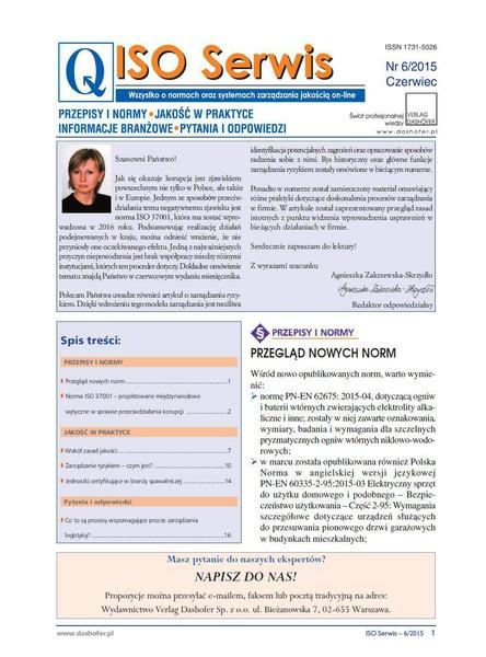 ISO Serwis. Wszystko o normach i systemach zarządzania jakością. Nr 6/2015