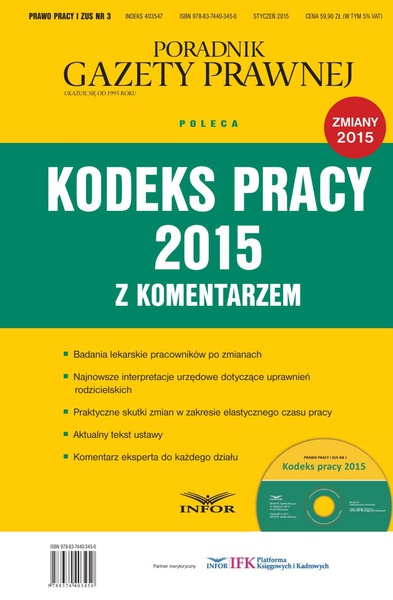 PRAWO PRACY I ZUS NR 3 - KODEKS PRACY 2015 Z KOMENTARZEM wydanie internetowe