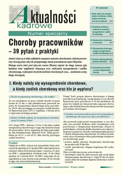 Choroby pracowników - 39 pytań z praktyki