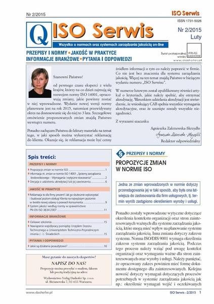 ISO Serwis. Wszystko o normach i systemach zarządzania jakością. Nr 2/2015