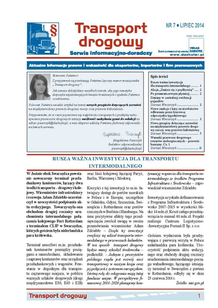Transport drogowy. Aktualne informacje prawne i wskazówki dla eksporterów, importerów i firm przewozowych. Nr 7/2014