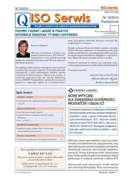 ISO Serwis. Wszystko o normach i systemach zarządzania jakością. Nr 10/2014
