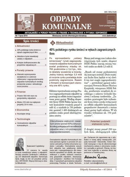 Odpady komunalne. Nr 7/2014