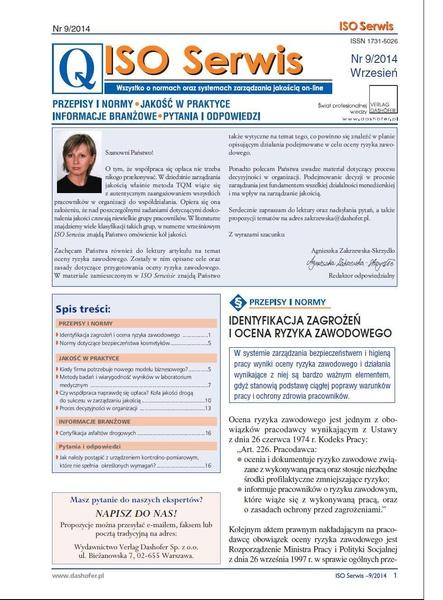 ISO Serwis. Wszystko o normach i systemach zarządzania jakością. Nr 9/2014