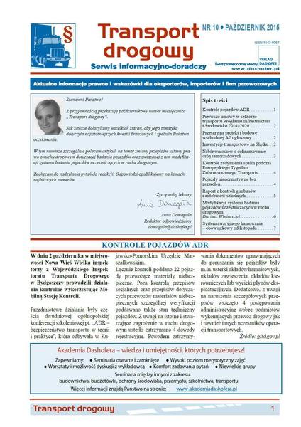 Transport drogowy. Aktualne informacje prawne i wskazówki dla eksporterów, importerów i firm przewozowych. Nr 10/2015