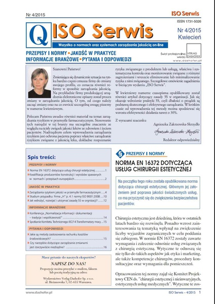 ISO Serwis. Wszystko o normach i systemach zarządzania jakością. Nr 4/2015
