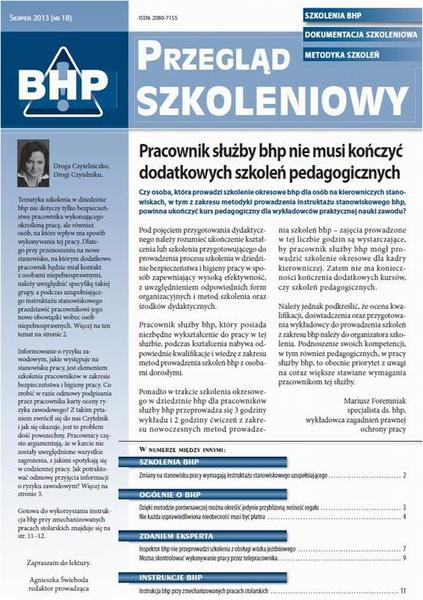 Przegląd szkoleniowy bhp sierpień 2013 nr 18