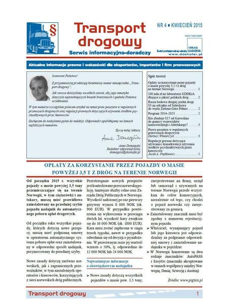Transport drogowy. Aktualne informacje prawne i wskazówki dla eksporterów, importerów i firm przewozowych. Nr 4/2015