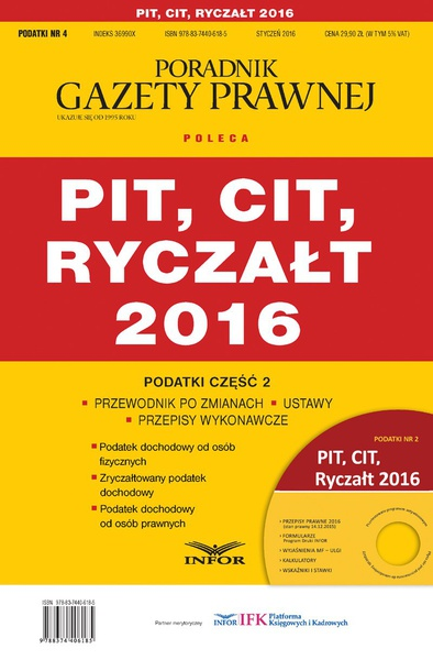 Podatki 2016/04 PIT, CIT, Ryczałt
