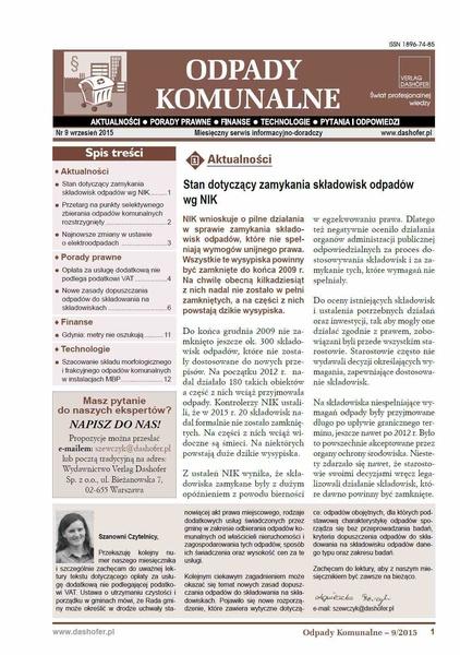 Odpady komunalne. Nr 9/2015