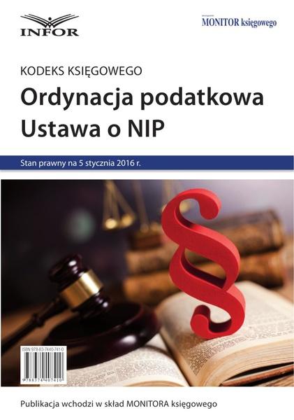 Kodeks księgowego, Ordynacja podatkowa, NIP 2016