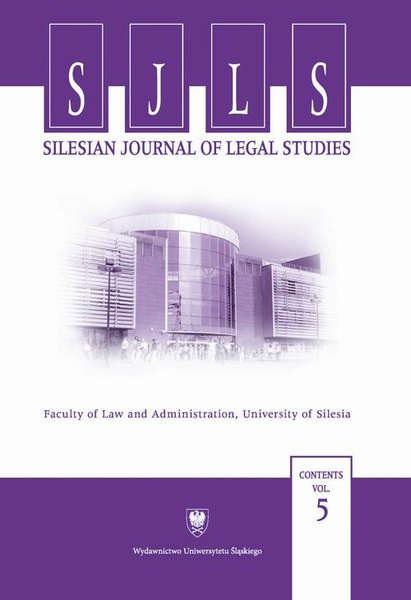 """""""Silesian Journal of Legal Studies"""". Contents Vol. 5"""