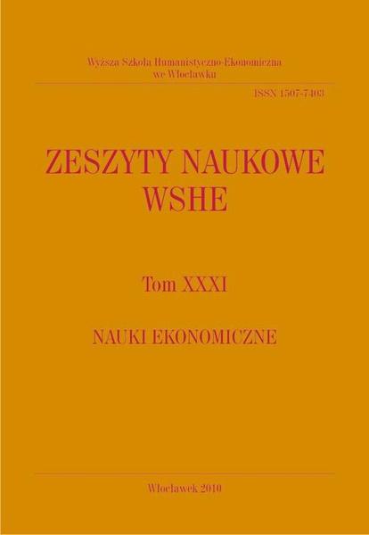 Zeszyty Naukowe WSHE, t. XXXI, Nauki Ekonomiczne