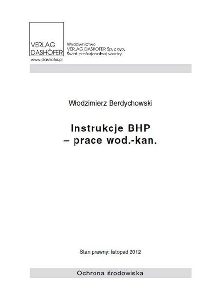 Instrukcje BHP - prace wod.- kan.