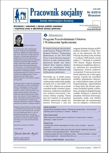 Pracownik socjalny. Aktualności i wskazówki z zakresu praktyki zawodowej i organizacji pracy w placówkach pomocy społecznej. Nr 9/2014