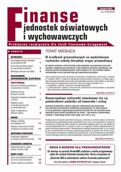 Finanse jednostek oświatowych i wychowawczych sierpień 2013