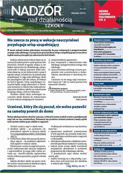 Nadzór nad działalności szkoły wrzesień 2013 r. nr 49