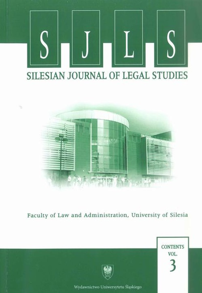 """Silesian Journal of Legal Studies"". Contents Vol. 3"