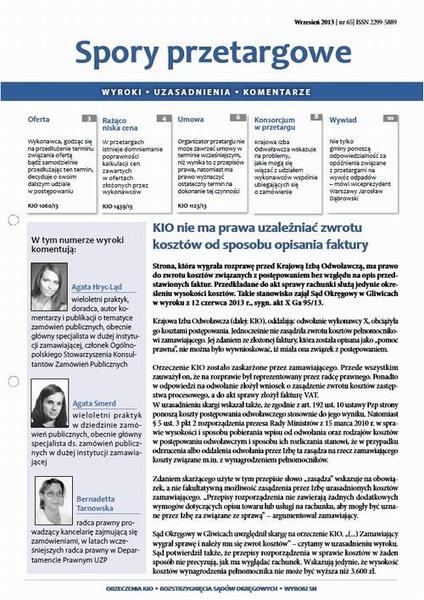 Spory przetargowe wrzesień 2013 nr 65