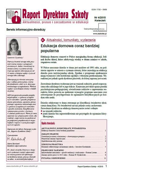 Raport Dyrektora Szkoły. Aktualności, prawo i zarządzanie w edukacji. Nr 4/2015