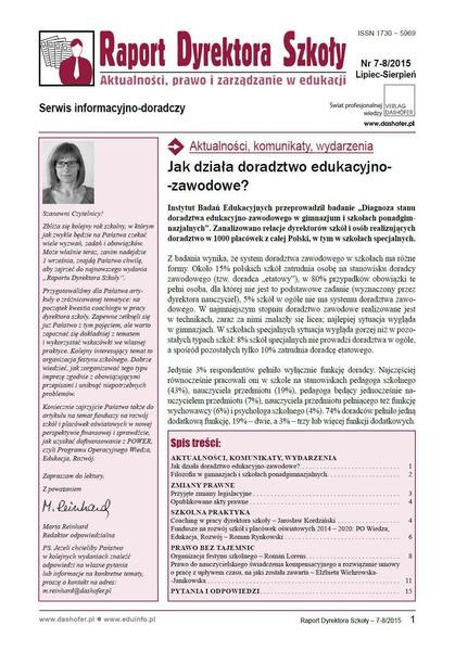Raport Dyrektora Szkoły. Aktualności, prawo i zarządzanie w edukacji. Nr 7-8/2015