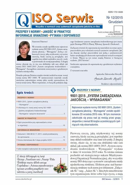 ISO Serwis. Wszystko o normach i systemach zarządzania jakością. Nr 12/2015
