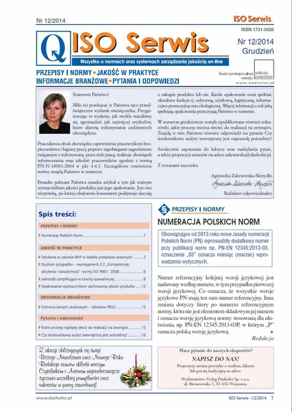 ISO Serwis. Wszystko o normach i systemach zarządzania jakością. Nr 12/2014