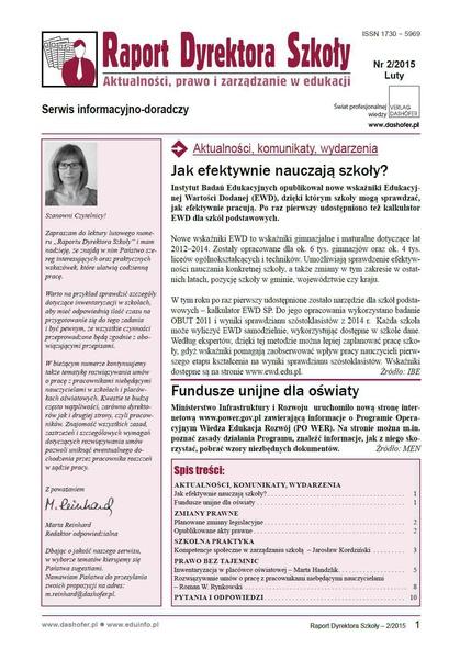 Raport Dyrektora Szkoły. Aktualności, prawo i zarządzanie w edukacji. Nr 2/2015