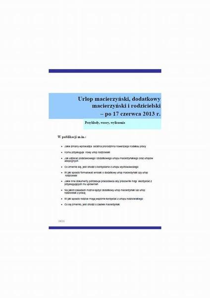 Urlop macierzyński, dodatkowy macierzyński i rodzicielski – po 17 czerwca 2013 r.