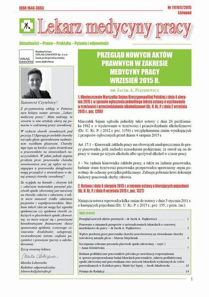 Lekarz Medycyny Pracy on-line Nr 11/2015