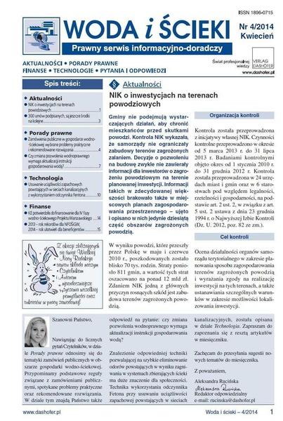 Woda i ścieki. Prawny serwis informacyjno-doradczy. Nr 4/2014