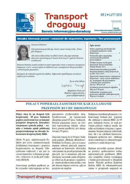 Transport drogowy. Aktualne informacje prawne i wskazówki dla eksporterów, importerów i firm przewozowych. Nr 2/2015