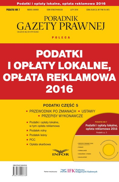 PODATKI 2016/7 Podatki i opłaty lokalne, opłata reklamowa 2016