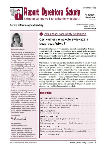 Raport Dyrektora Szkoły. Aktualności, prawo i zarządzanie w edukacji. Nr 12/2014