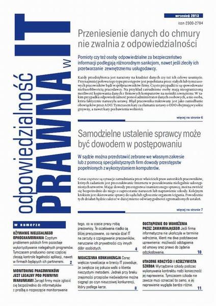 Odpowiedzialność prawna w IT wrzesień 2013
