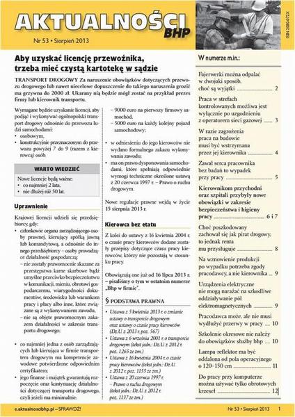 Aktualności bhp sierpień 2013 nr 53