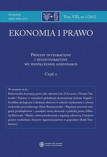 Ekonomia i prawo 2012, t. 8: Procesy integracyjne i dezintegracyjne we współczesnej gospodarce, cz. 2