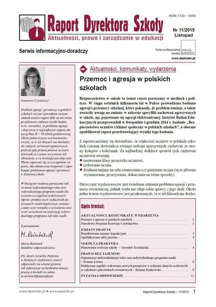 Raport Dyrektora Szkoły. Aktualności, prawo i zarządzanie w edukacji. Nr 11/2015