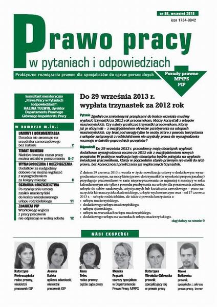 Prawo pracy w pytaniach i odpowiedziach wrzesień 2013