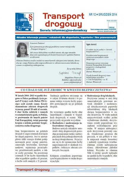 Transport drogowy. Aktualne informacje prawne i wskazówki dla eksporterów, importerów i firm przewozowych. Nr 12/2014