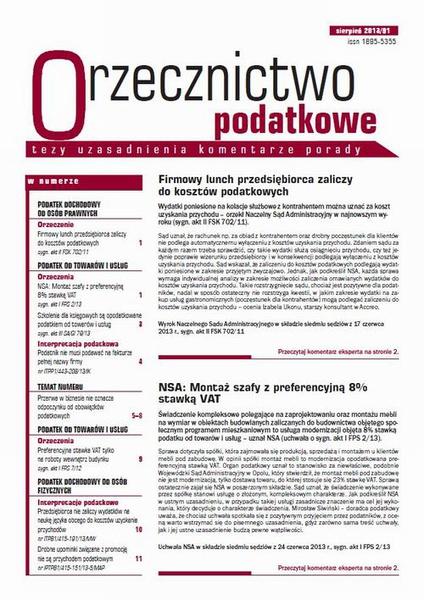 Orzecznictwo podatkowe sierpień 2013/91