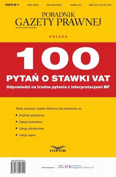 PODATKI 2015 nr 11 - 100 pytań o stawki VAT