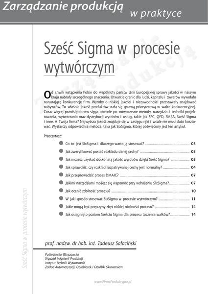 Sześć Sigma w procesie wytwórczym