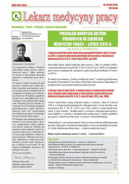 Lekarz Medycyny Pracy on-line Nr 9/2015